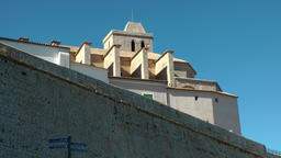 Europe Spain Balearic Ibiza Eivissa city 135 backside of city wall Footage