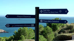 Europe Spain Balearic Ibiza Eivissa city 137 signs for different directions Footage
