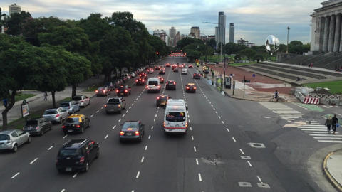 Bridge view of avenue traffic besides Buenos Aires Law school Footage