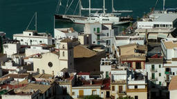 Europe Spain Balearic Ibiza Eivissa city 147 harbor district with church Footage
