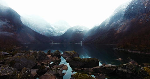 Big Mountains And A Lake In Epic Landscape Mood Footage