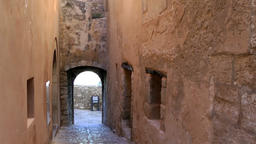 Europe Spain Balearic Ibiza Eivissa city 151 old alley with archway Footage