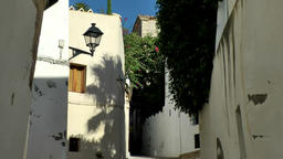 Europe Spain Balearic Ibiza Eivissa city 155 shadows in an old alley 画像