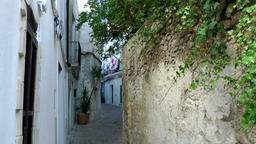 Europe Spain Balearic Ibiza Eivissa city 164 old alleys and stonewalls Footage