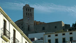Europe Spain Balearic Ibiza Eivissa city 173 cathedral of upper old town Footage