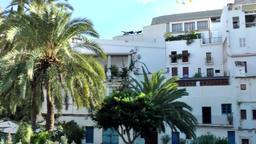 Europe Spain Balearic Ibiza Eivissa city 176 pan between whitewashed houses Footage
