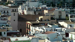Europe Spain Balearic Ibiza Eivissa city 180 harbor district with church Footage