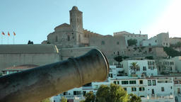 Europe Spain Balearic Ibiza Eivissa city 181 upper old town and a cannon Footage