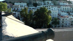 Europe Spain Balearic Ibiza Eivissa city 182 city wall with cannons Footage