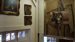 Europe Spain Balearic Ibiza village santa gertrudis 214 arts in stairwell Footage