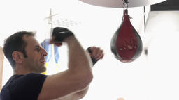 Boxer training with the speed punchbag Footage