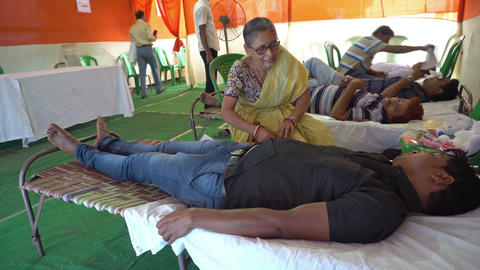 Blood donation camp in West Bengal, India Footage