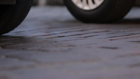 Paving Stones Road and Car Wheels Footage
