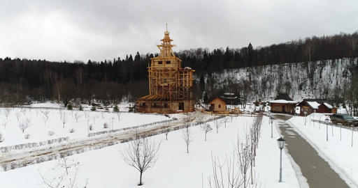 Construction of a wooden church Footage