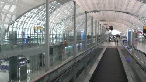 Interior of passenger terminal at Bangkok airport Footage