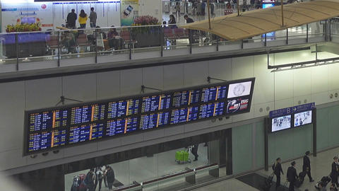 Arrival board at an airport in Hong Kong Footage