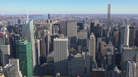 Panoramic and aerial view of Manhattan buildings in New York City, NY, USA. New