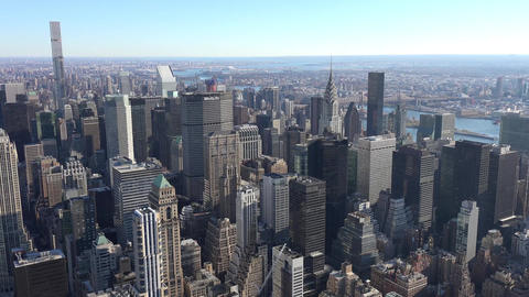 Panoramic and aerial view of Manhattan buildings in New York City, NY, USA. New Live Action