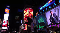 New York Times Square New York with billboards neon lights and Illuminated signs Footage