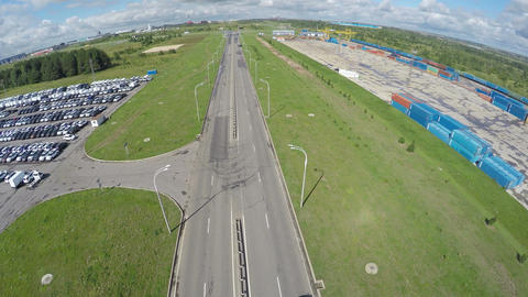 Aerial View Highway with Small Traffic and Parking on Side Footage
