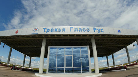 Timelapce Checkpoint Glass Facade to Trakya Glass Rus Plant Footage