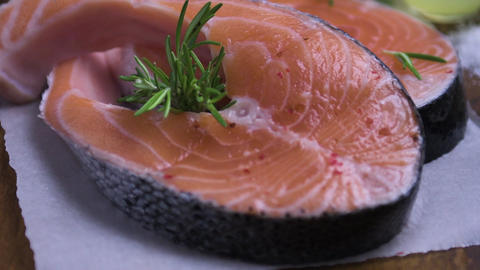 Raw salmon steak Live Action