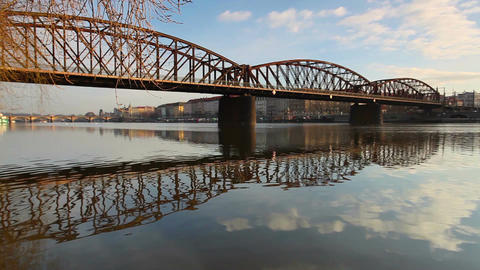 Old iron railway bridge in Prague,Czech Republic Footage