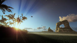 Tropical island with palm trees and rocks in ocean, morning mist, tilt Animation