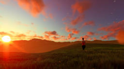Woman running on green meadow panning, sunset Animation