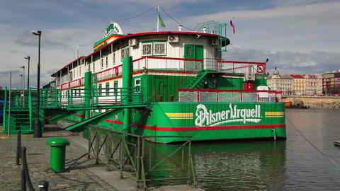 Botel Admiral on the Vltava river in Prague Footage