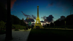 Wonderful view Eiffel Tower in Paris at sunset, panning Animation