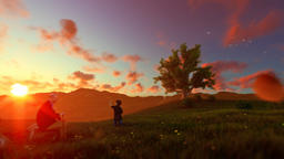 Little boy with airplane and grandfather resting on green meadow, sunrset, panni Animation