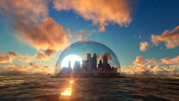 Modern city in a glass dome on ocean at sunset Animation