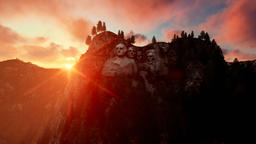 Mount Rushmore at sunset, camera fly Animation