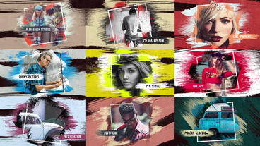 Colorful Strokes Slideshow After Effects Templates