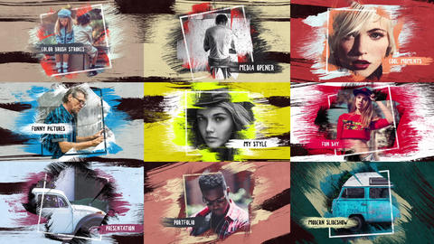 Colorful Strokes Slideshow After Effects Template