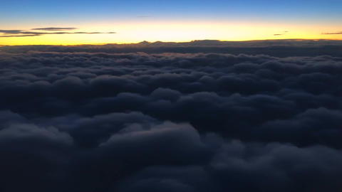 Flying Above Cloud Sunset Footage