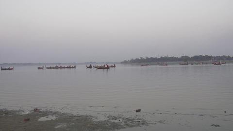 Panorama of Taungthaman lake and U-Bein bridge Footage