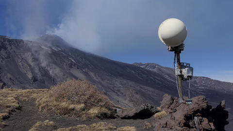 Camera Equipment To Record Erupting Activity Of Mount Etna Volcano Footage