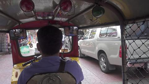 Trip in tuk-tuk through the streets of Bangkok Footage