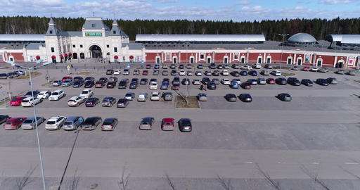 Aerial View Parking For Cars Footage