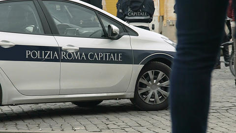 Italian policemen securing public order in Rome city, officers on duty Footage