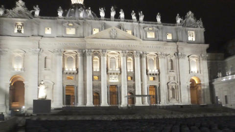 Stage and seats near beautiful St. Peter church in Vatican, tourist attraction Live Action