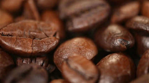 Beautiful aromatic coffee beans rotating on showcase, quality examination Footage