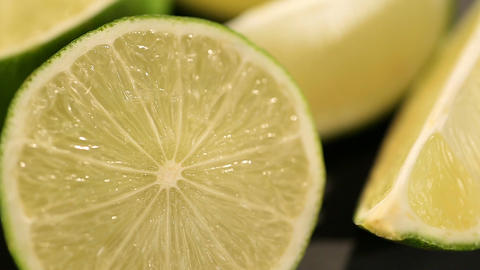 Sour lime prepared as ingredient for cooking dish or cocktail, vitamin C source Footage