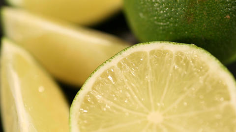 Refreshing sour green lime, cut citrus fruit rich in vitamin C, aromatherapy Live Action