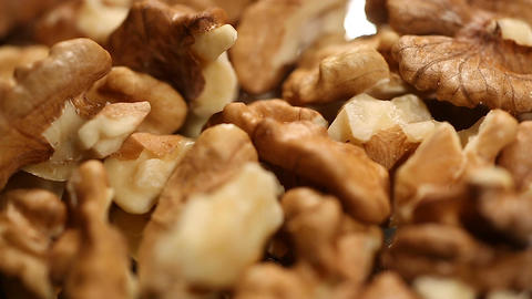 Walnut kernels rotating, nutritious food product rich in minerals and vitamins Footage