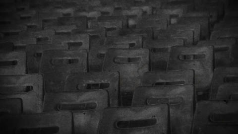 Exclusion zone, empty theater hall in desolate town, memories, black and white Live Action