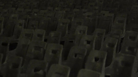 Panorama of old cinema hall, retro theater auditorium, black and white Footage