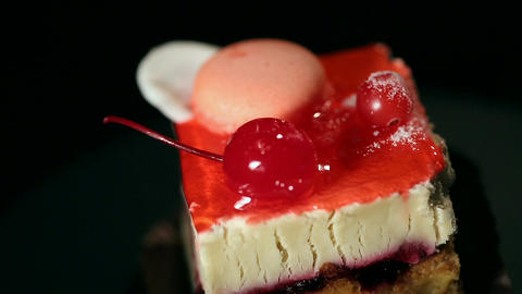 Ideal fancy cake cooked by professional confectioner, appetizing sweet dessert Footage